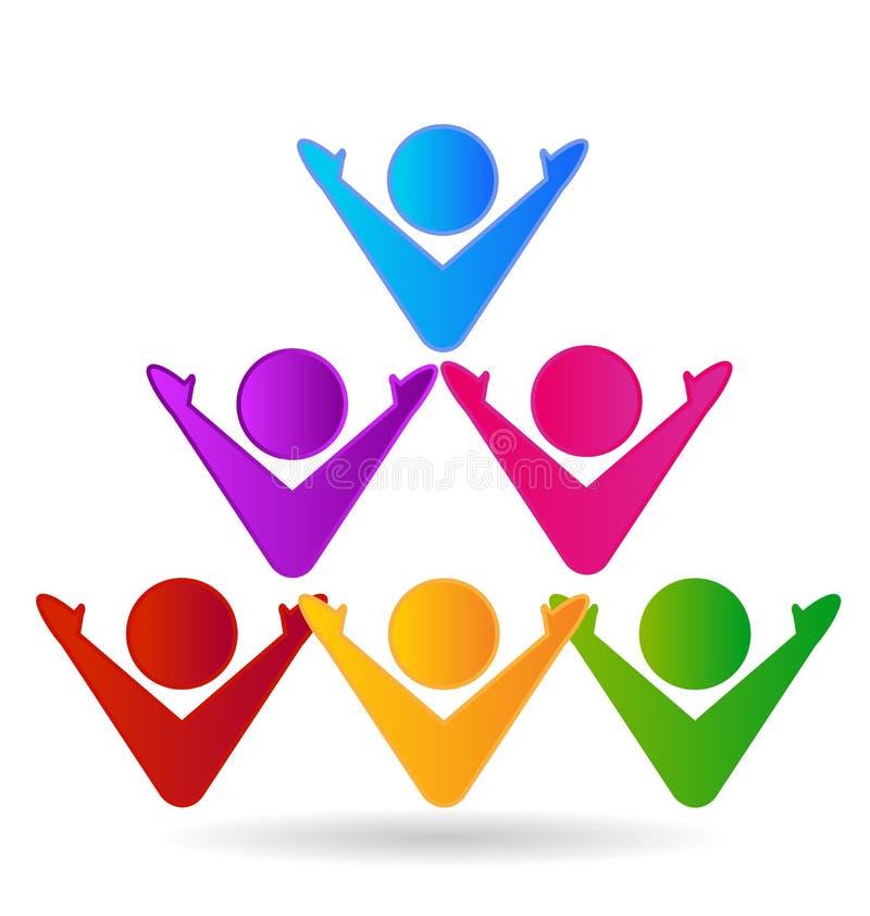 Equipe dos povos em uma pirâmide, vetor do logotipo ilustração royalty free