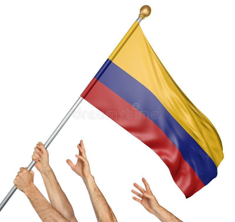 A equipe dos povos entrega o levantamento da Colômbia bandeira nacional ilustração stock