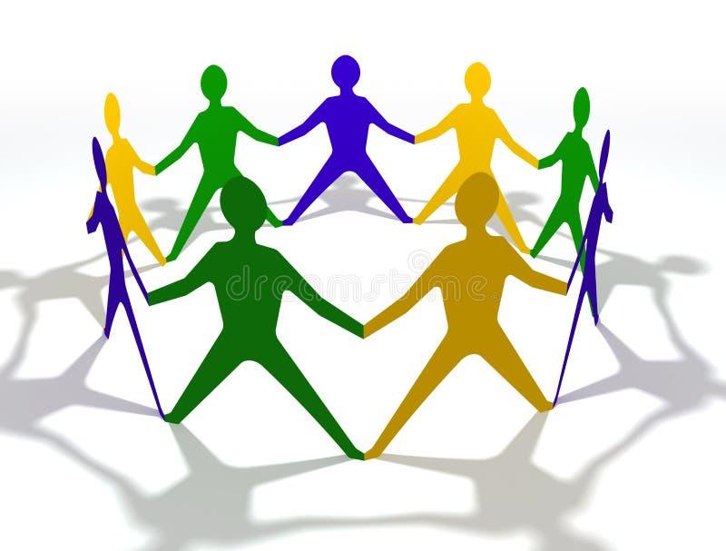 Equipe dos povos no círculo com cores de Brasil ilustração royalty free