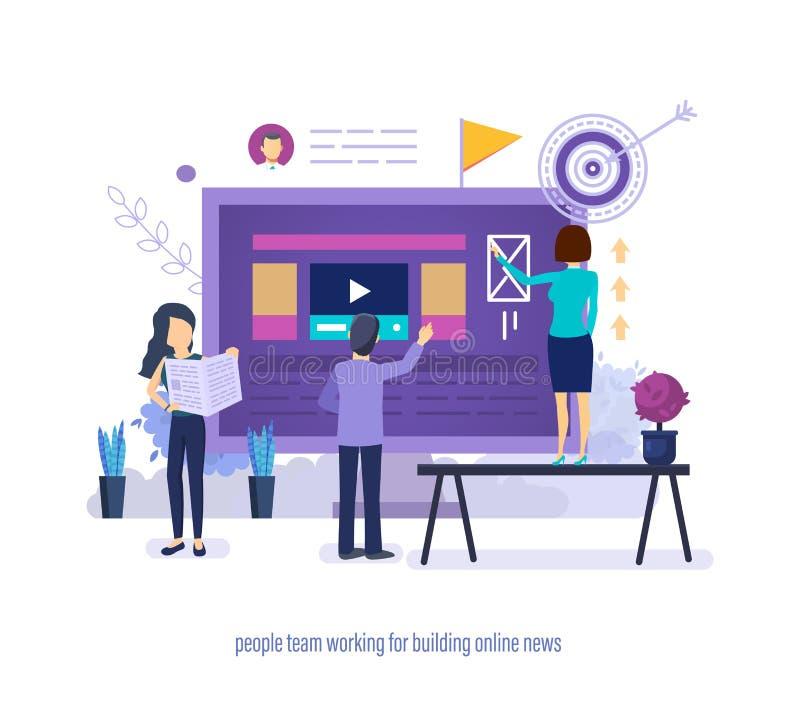 Equipe dos povos que trabalha para construir a notícia em linha Trabalhos de equipe, grupo criativo ilustração royalty free