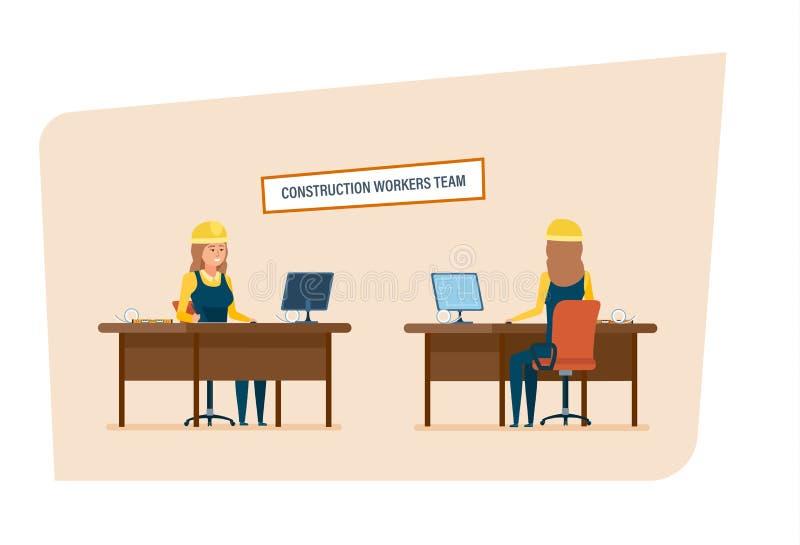 Equipe dos trabalhadores dos coordenadores de construção O caráter das mulheres que trabalha no escritório ilustração stock