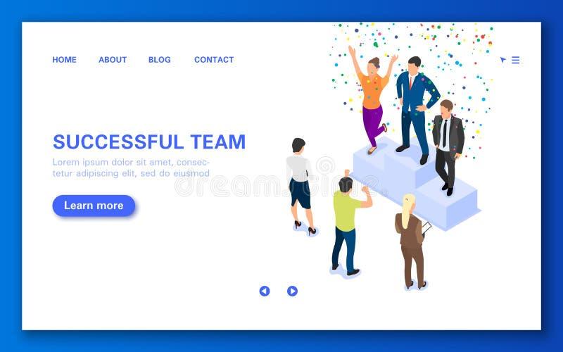 Equipe dos vencedores do conceito em um suporte Bandeira da Web com um grupo de pessoas ilustração royalty free