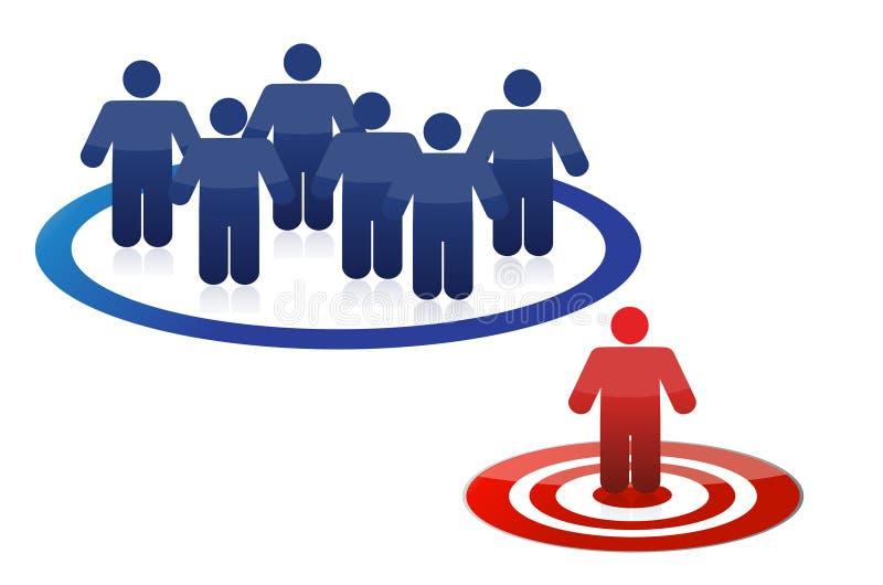 Equipe e líder modelo azuis no vermelho ilustração stock