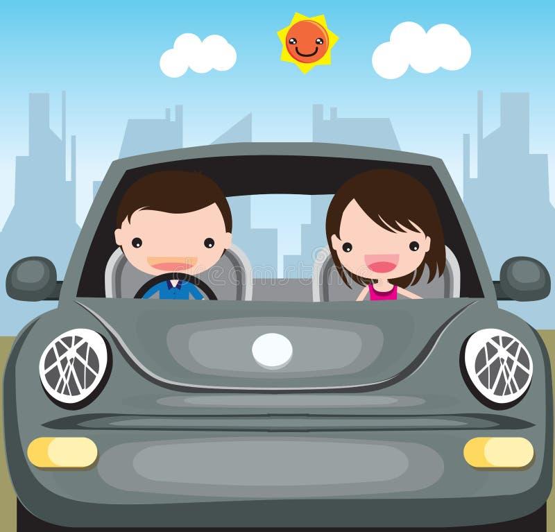 Equipe e a mulher que viaja pelo carro ilustração royalty free