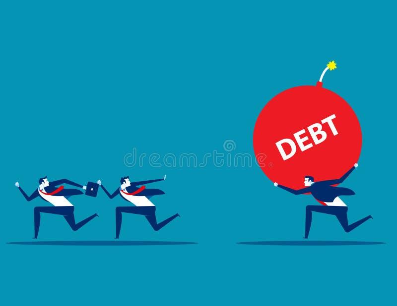 Equipe e sócio do negócio com problema grande Ilustração do vetor do débito do negócio do conceito Projeto de caráter liso, estil ilustração do vetor