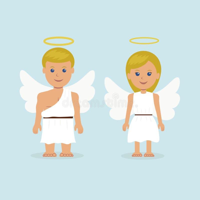 Equipe e uma mulher vestida como um anjo com asas e um halo ilustração royalty free