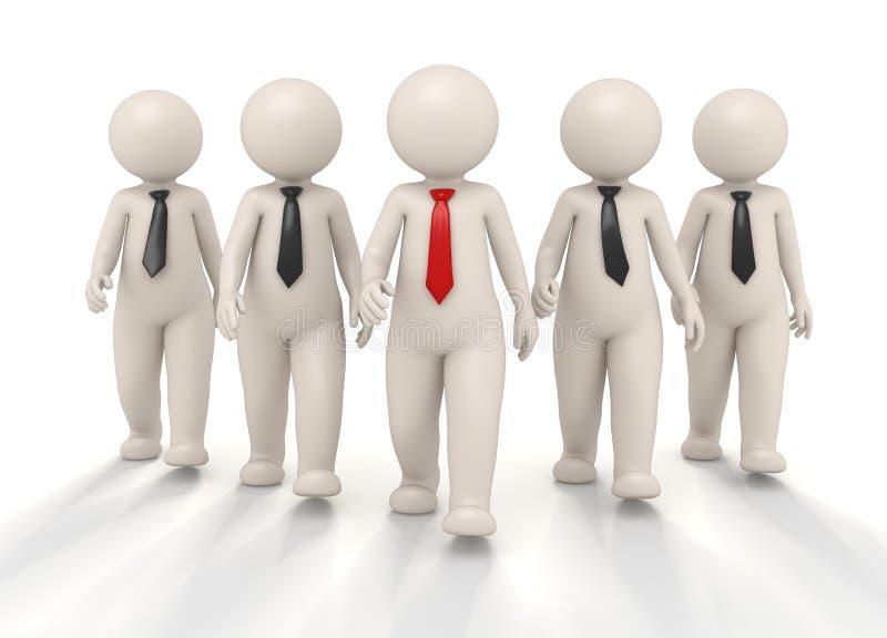 Equipe - equipe e líder do negócio 3d ilustração do vetor