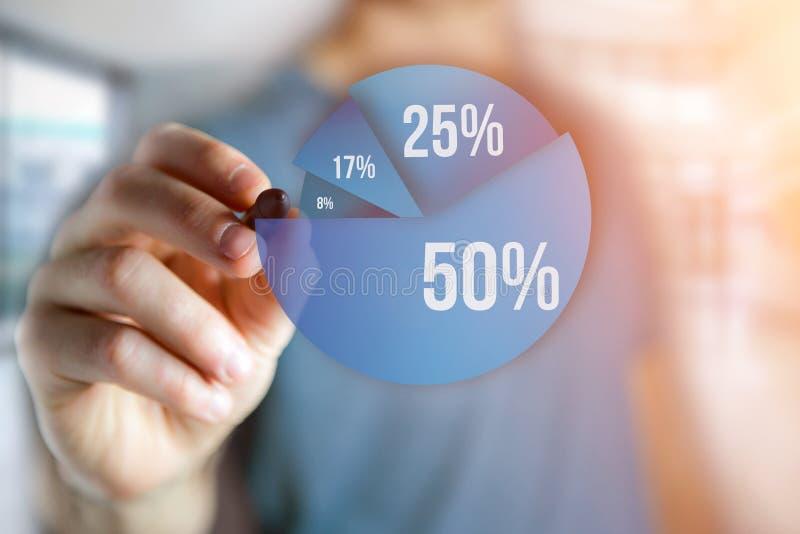 Equipe a escrita em uma relação azul do gráfico da avaliação - conce da tecnologia ilustração stock