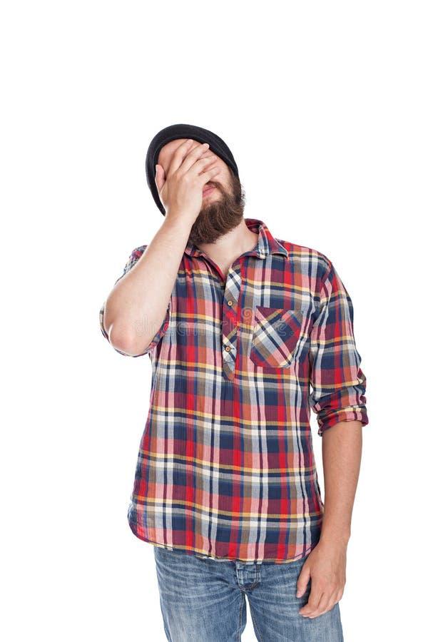 Equipe fazer o facepalm ou cubra sua cara com a palma imagem de stock