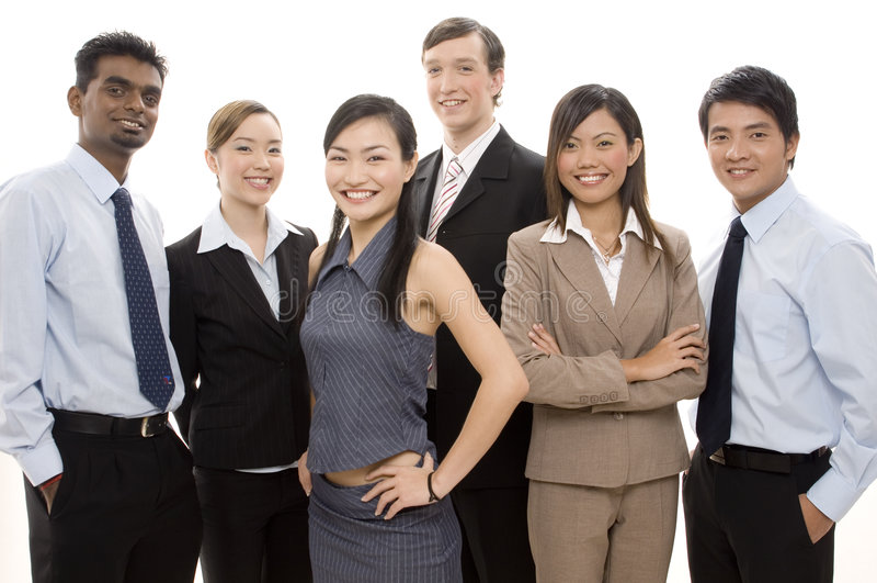Equipe feliz 3 do negócio imagens de stock