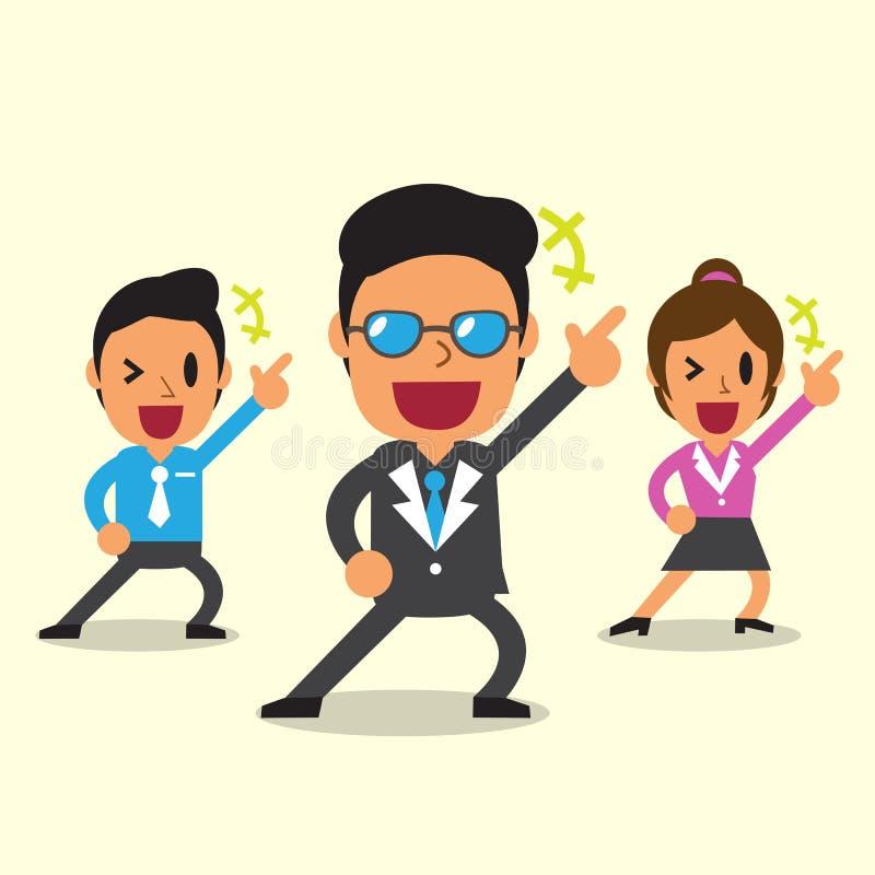 Equipe feliz do negócio dos desenhos animados com fundo amarelo ilustração stock
