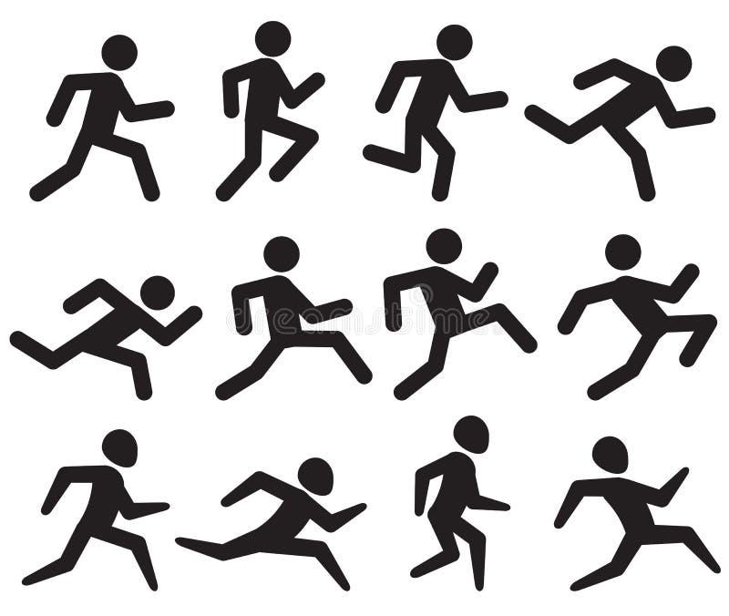 Equipe figura running pictograma do preto, movimentando os ícones do vetor da atividade isolados no branco ilustração do vetor