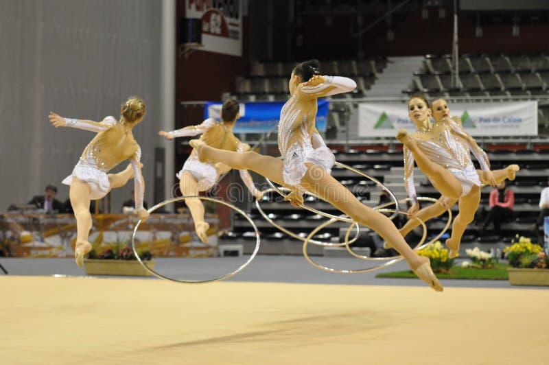 Equipe ginástica, francesa rítmica imagens de stock