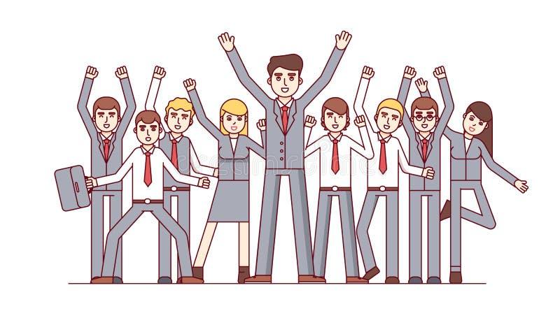 Equipe grande que comemora o sucesso comercial enorme ilustração stock