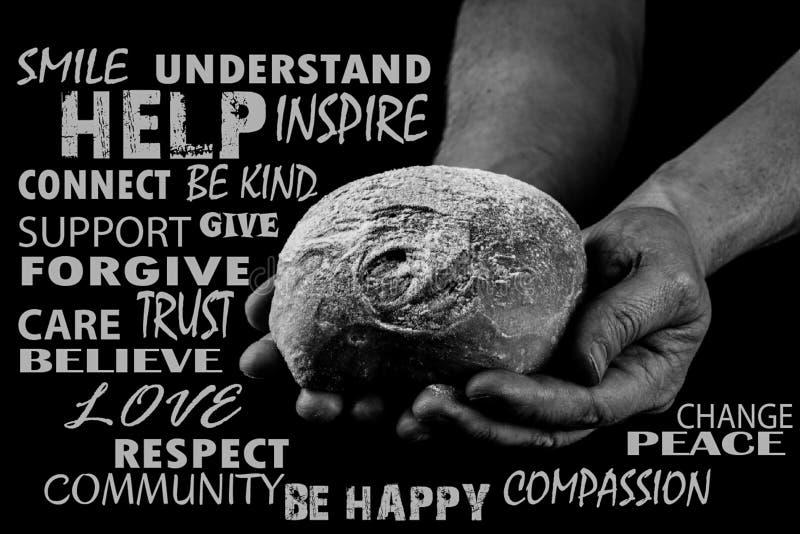 Equipe guardar o pão com ambas as mãos, mãos amiga que dão o pão Palavra CLOUD Rebecca 36 imagem de stock