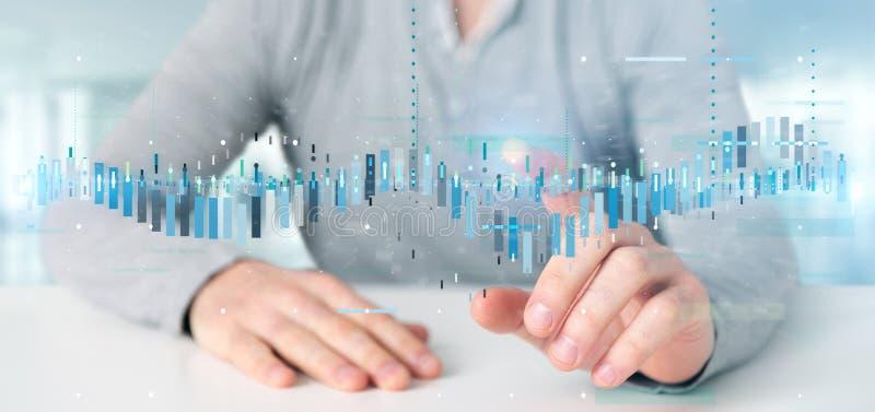 Equipe guardar uma informação de dados de troca da bolsa de valores do negócio ilustração stock
