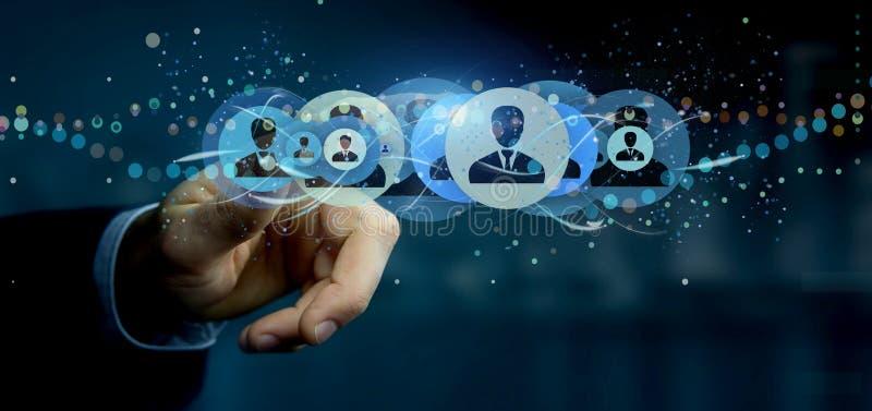 Equipe guardar uma rendição profissional do conceito 3d da rede do contato ilustração royalty free