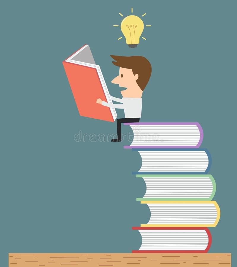 Equipe a leitura na pilha de livros para obter a ideia e o conhecimento ilustração do vetor