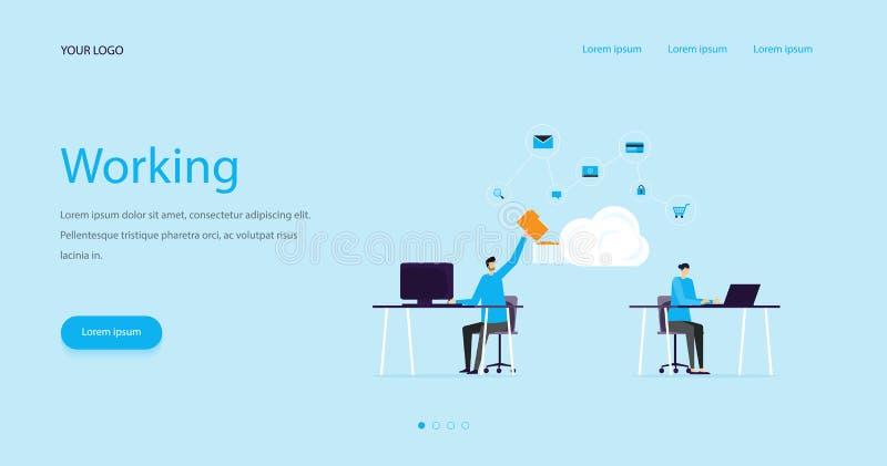 Equipe lisa do conceito e do negócio de projeto do encabeçamento da Web da ilustração que trabalha com armazenamento da nuvem par ilustração royalty free