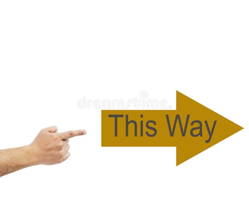 Equipe a mão do ` s que aponta esta maneira de seguir Fundo branco fotografia de stock royalty free