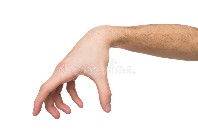 Equipe a mão que faz o gesto quando garra alguns artigos isolados no branco imagem de stock royalty free