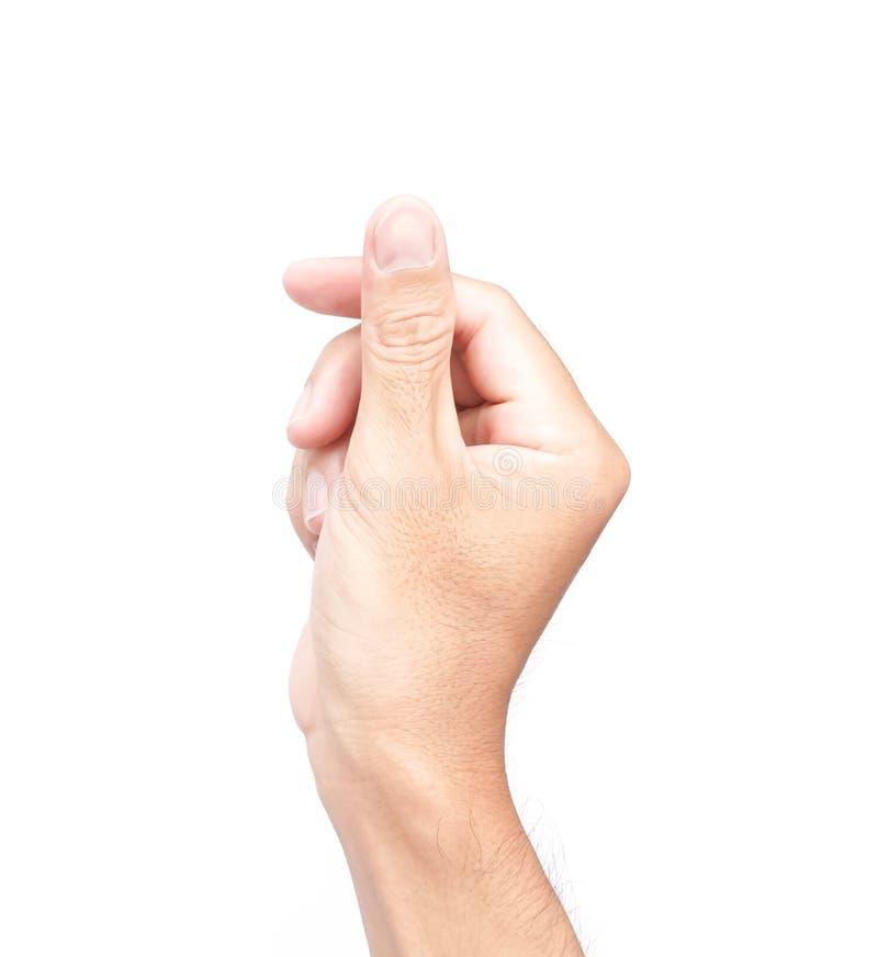 Equipe a mão que guarda algo no fundo branco para o cartão de texto pap imagens de stock royalty free