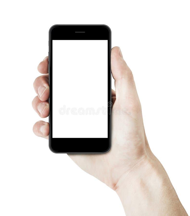 Equipe a mão que guarda um smartphone com tela vazia imagem de stock