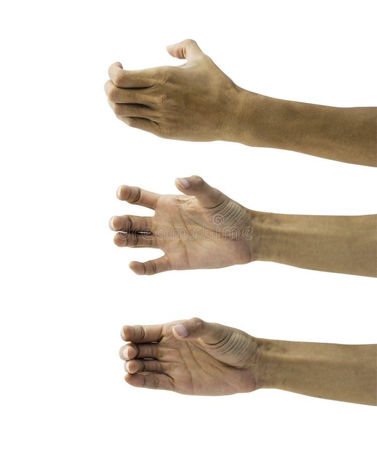 Equipe a mão que mantém algo vazio isolado nos wi brancos do fundo foto de stock royalty free