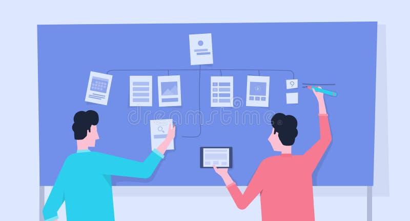 Equipe móvel da aplicação e do programador web que conceitua o desenvolvimento do plano e o processo de projeto ilustração do vetor
