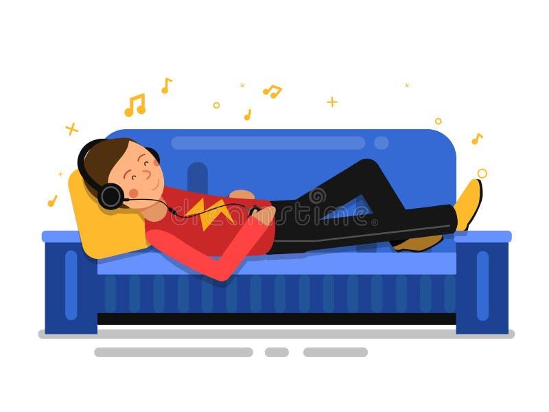 Equipe a música de escuta e o relaxamento no sofá do sofá Ilustração interna do vetor no estilo liso ilustração royalty free