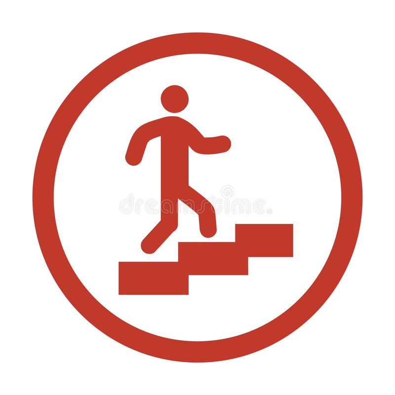 Equipe no ícone das escadas no fundo branco ilustração do vetor