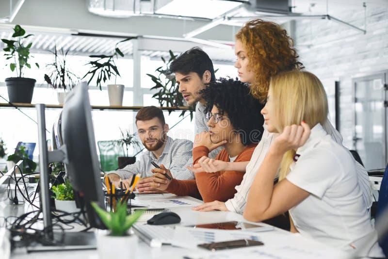 Equipe nova que analisa a informação nova, olhando o computador imagens de stock