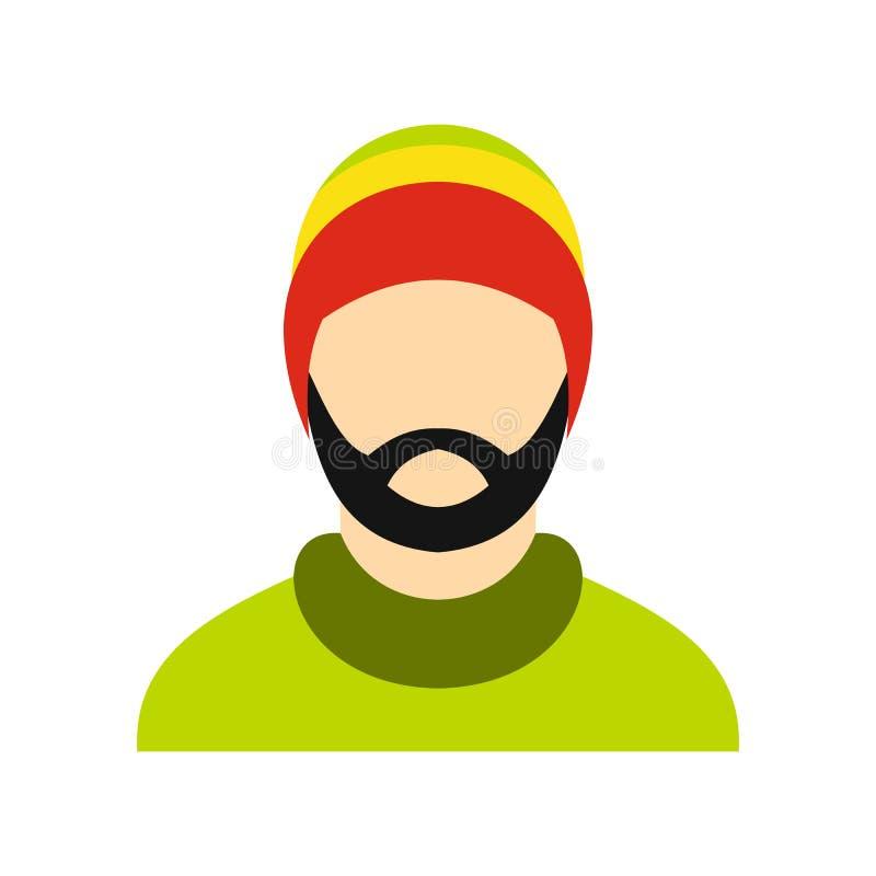 Equipe o ícone rastafarian vestindo do chapéu, estilo liso ilustração do vetor
