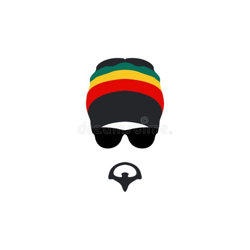 Equipe o ícone rastafarian vestindo do chapéu no estilo liso ilustração do vetor