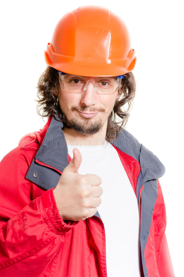 Equipe o architector ou o construtor que mostram o polegar acima sobre o fundo branco fotografia de stock royalty free