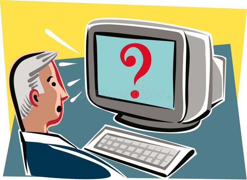 Equipe o assento em uma mesa com um computador ilustração do vetor