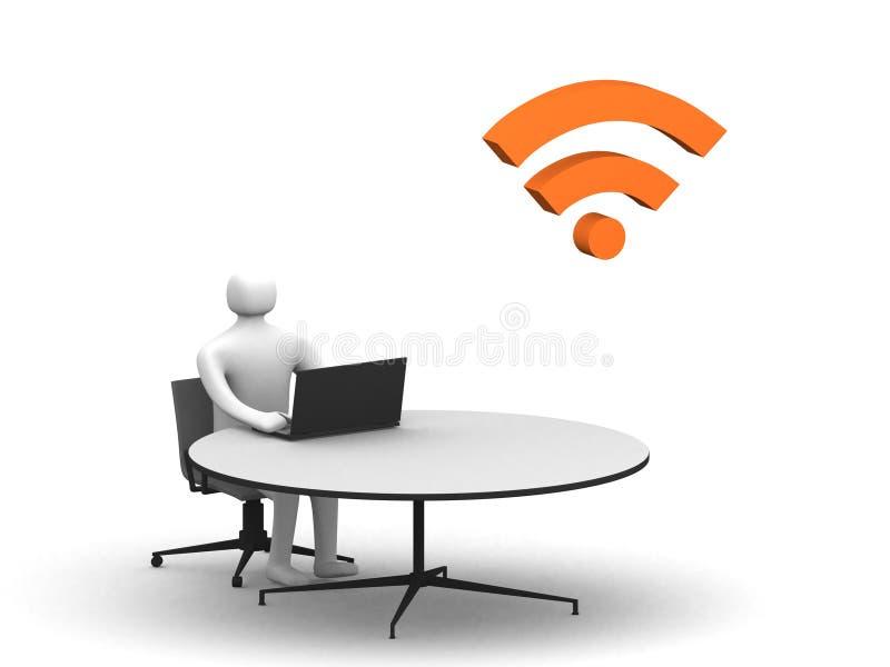 Equipe o assento na tabela e o trabalho em um portátil ilustração stock