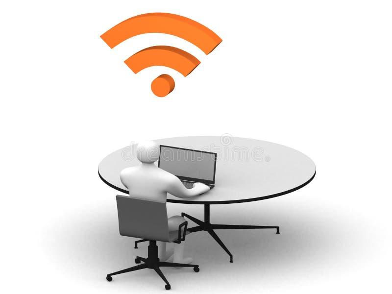 Equipe o assento na tabela e o trabalho em um portátil ilustração do vetor