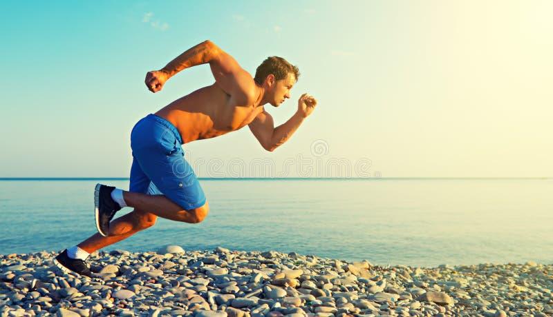 Equipe o atleta que corre pelo mar no por do sol fora imagens de stock