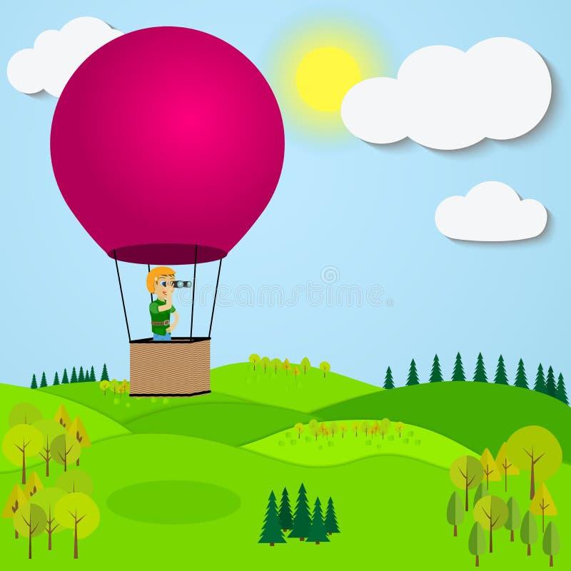 Equipe o balão de ar quente de voo sobre uma montanha ilustração royalty free