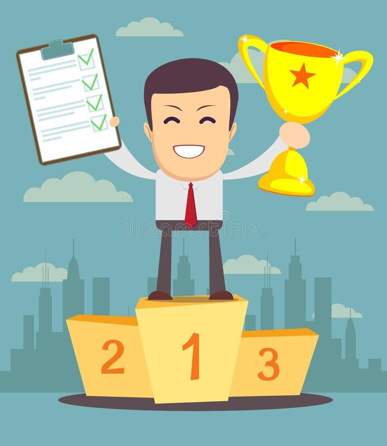 Equipe o caráter que guarda uma prancheta com concessão verde do tiquetaque e do troféu dos vencedores ilustração do vetor