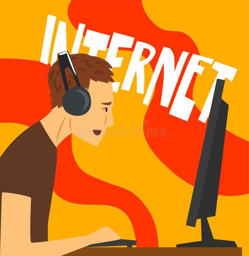 Equipe o caráter que joga jogos de computador, dependência do Internet, o hábito mau e o apego da ilustração moderna do vetor da  ilustração stock