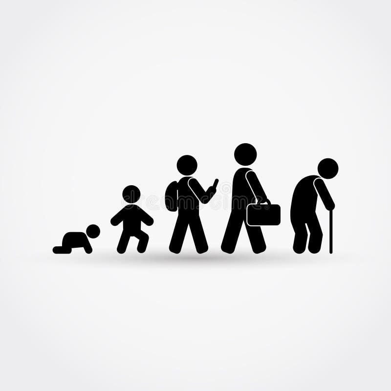 Equipe o ciclo de vida do nascimento à idade avançada nas silhuetas ilustração stock