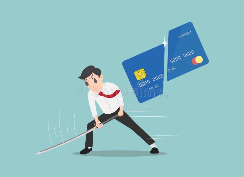 Equipe o corte de um cartão de crédito com uma espada do samurai, saia do conceito do departamento fotos de stock royalty free
