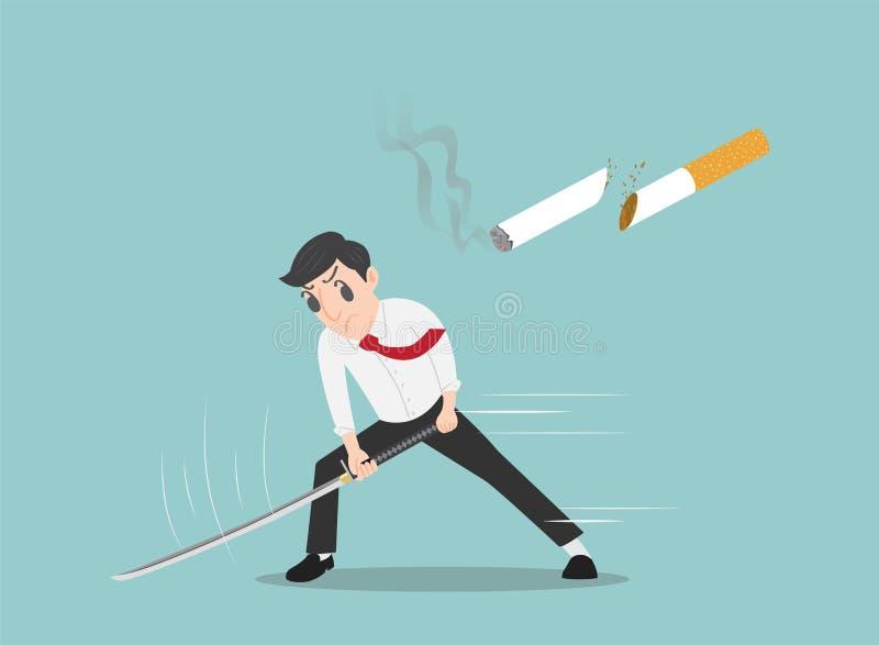 Equipe o corte de um cigarro com uma espada do samurai, pare-o de fumar o conceito - vector a ilustração fotografia de stock royalty free