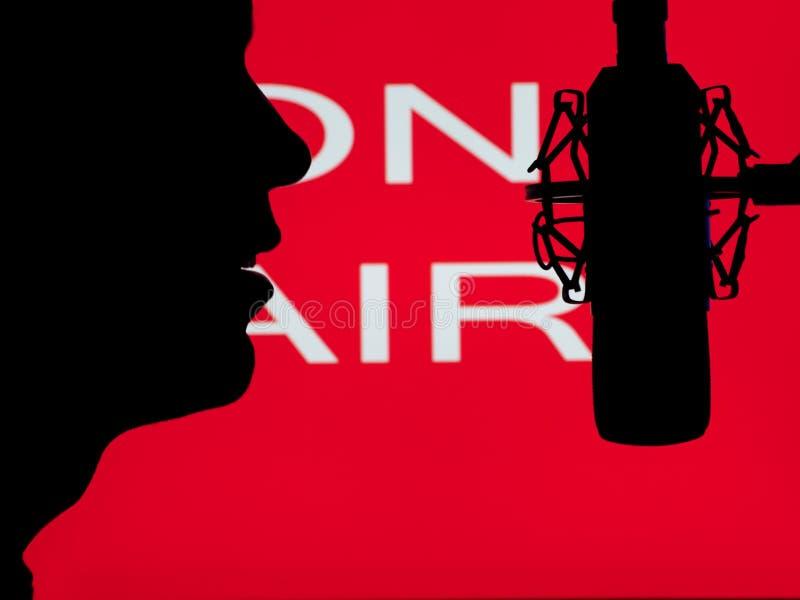 Equipe o discurso no microfone imagem de stock royalty free