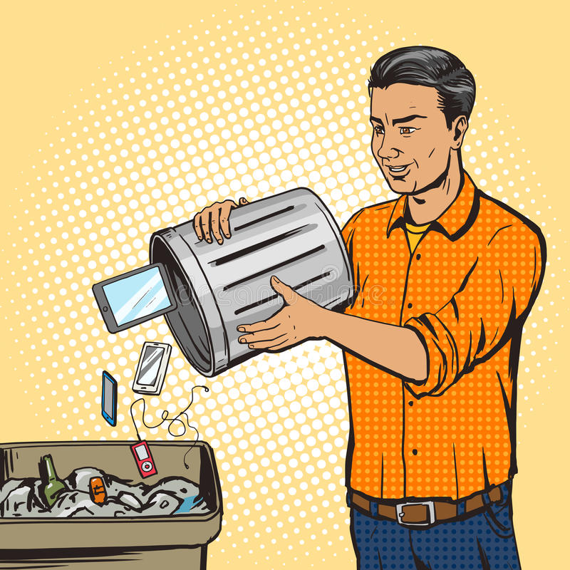 Equipe o dispositivo do dispositivo dos lances no vetor do pop art do lixo ilustração royalty free