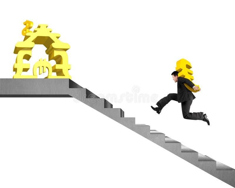 Download Equipe O Euro Levando Do Ouro Em Escadas Ao Dinheiro Que Empilha A Casa Ilustração Stock - Ilustração de perigo, banknote: 65581054