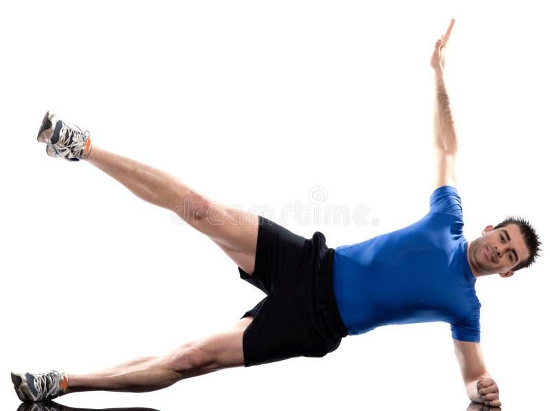 Equipe o exercício de abdominals da postura da aptidão do exercício fotos de stock royalty free