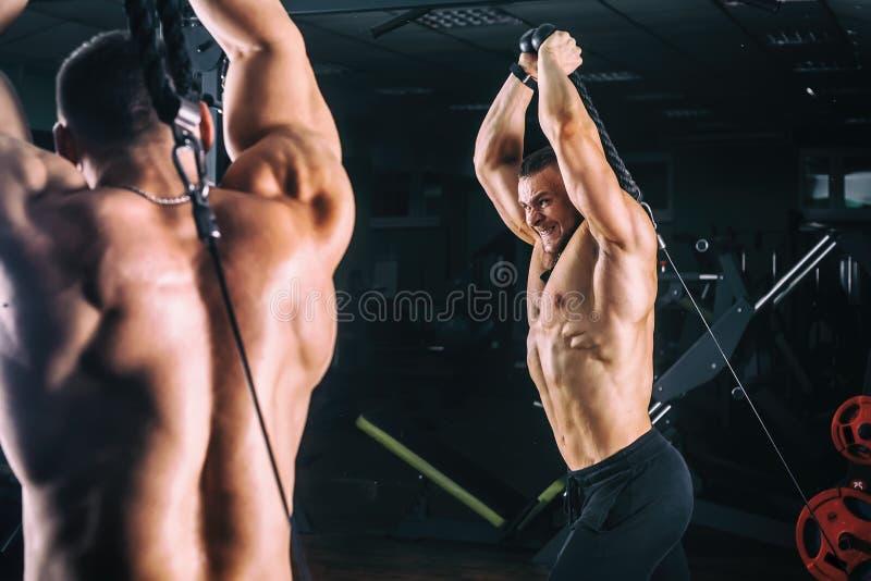 Equipe o exercício no instrutor para os músculos do tríceps no gym imagem de stock royalty free